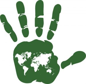 World on handprint
